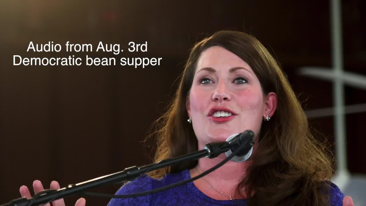 Alison Grimes jokes about Sen  Rand Paul's attack at the Democratic bean  supper