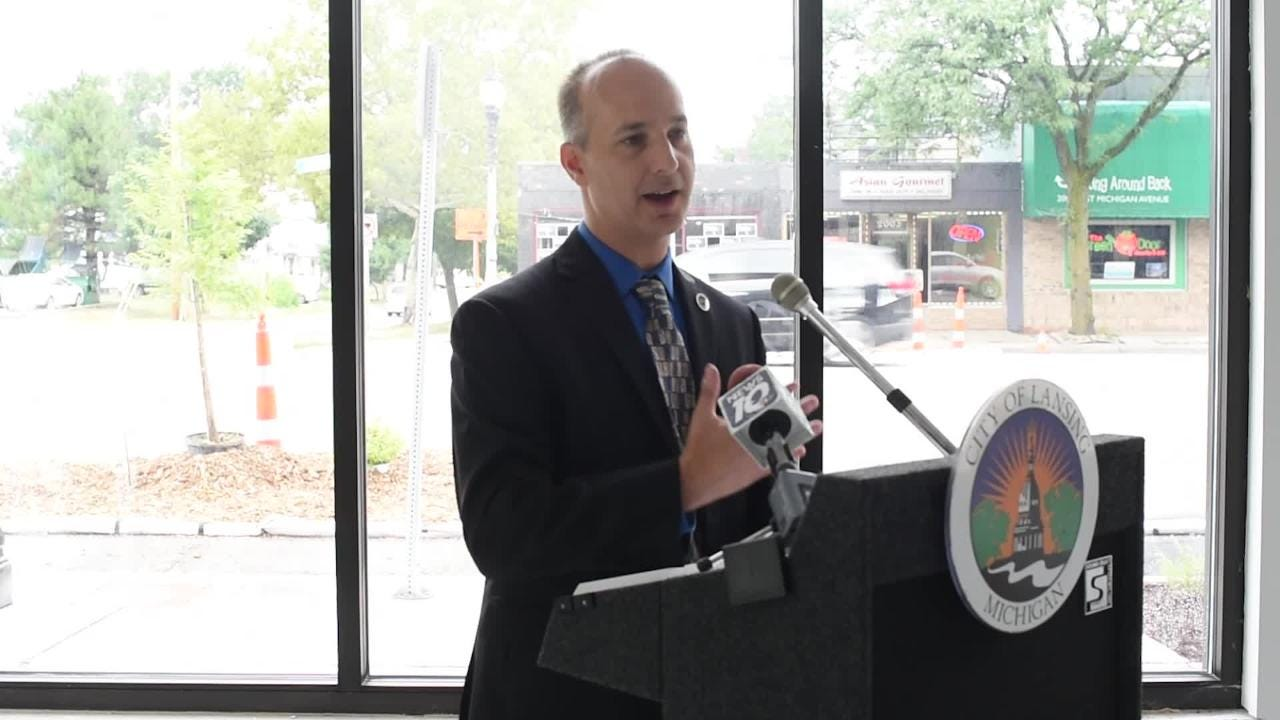 Mayor Andy Schor speaks at the 'Imagine the Avenue' kickoff event at The Venue on Michigan Avenue in Lansing.