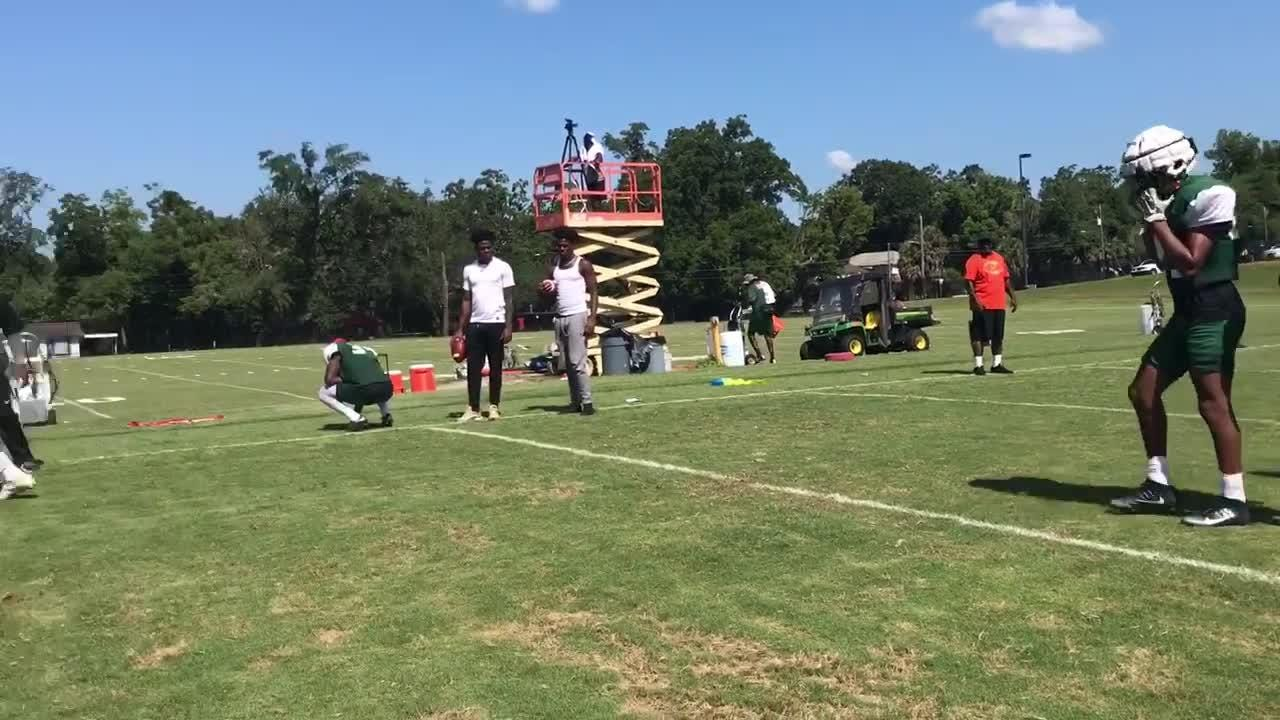 WATCH: The FAMU defensive backs work on fine-tuning their footwork and leverage for tackling.