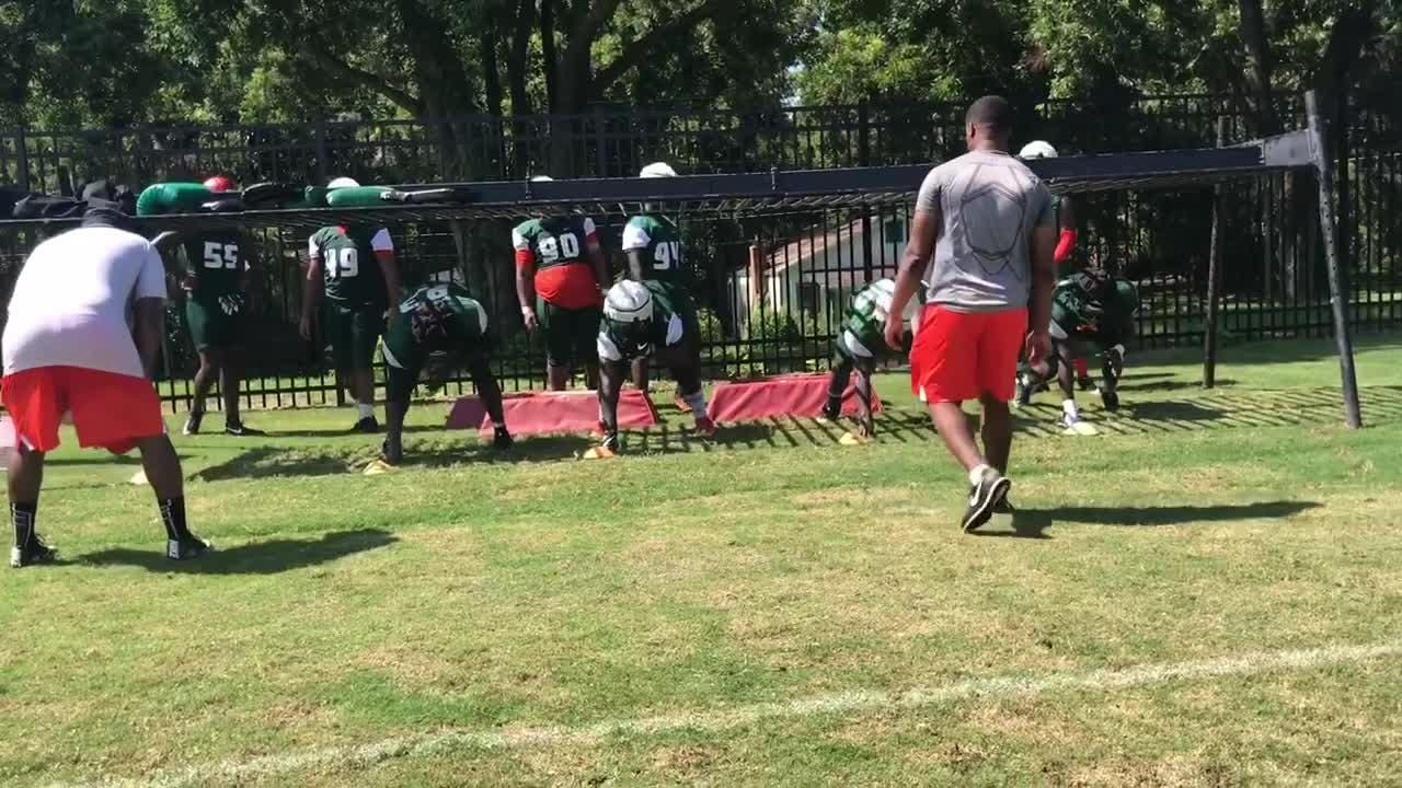 WATCH: Rattlers work with defensive coordinator Ralph Street on low lateral movement down the line.
