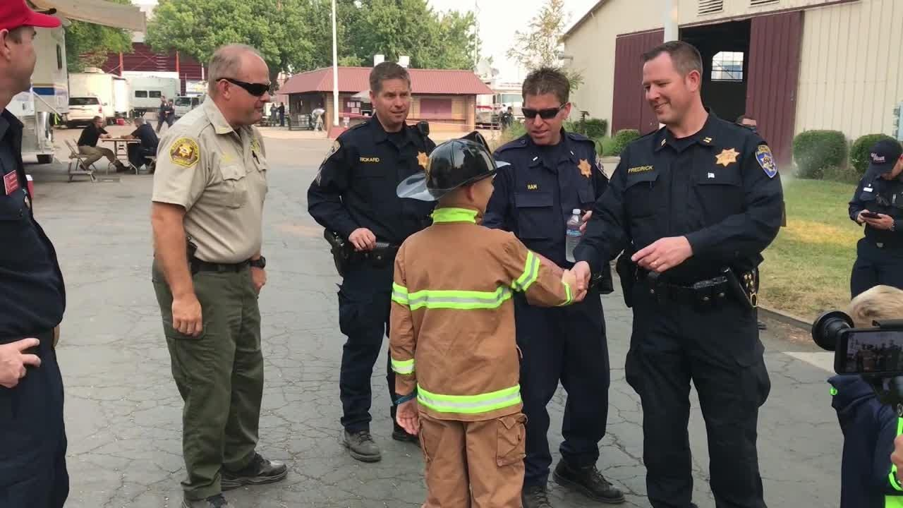 Eight-year-old Kenny Garrison and his 5-year-old brother, Carter, got the Cal Fire VIP treatment Monday for all their support.