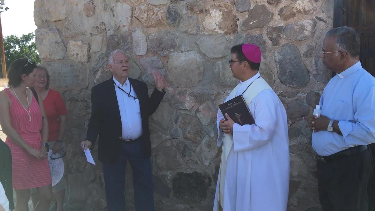 Martin Amador Campbell, spear headed the project to renovate the Amador Family Mausoleum. Monday, Bishop Oscar Cantu blessed the building.