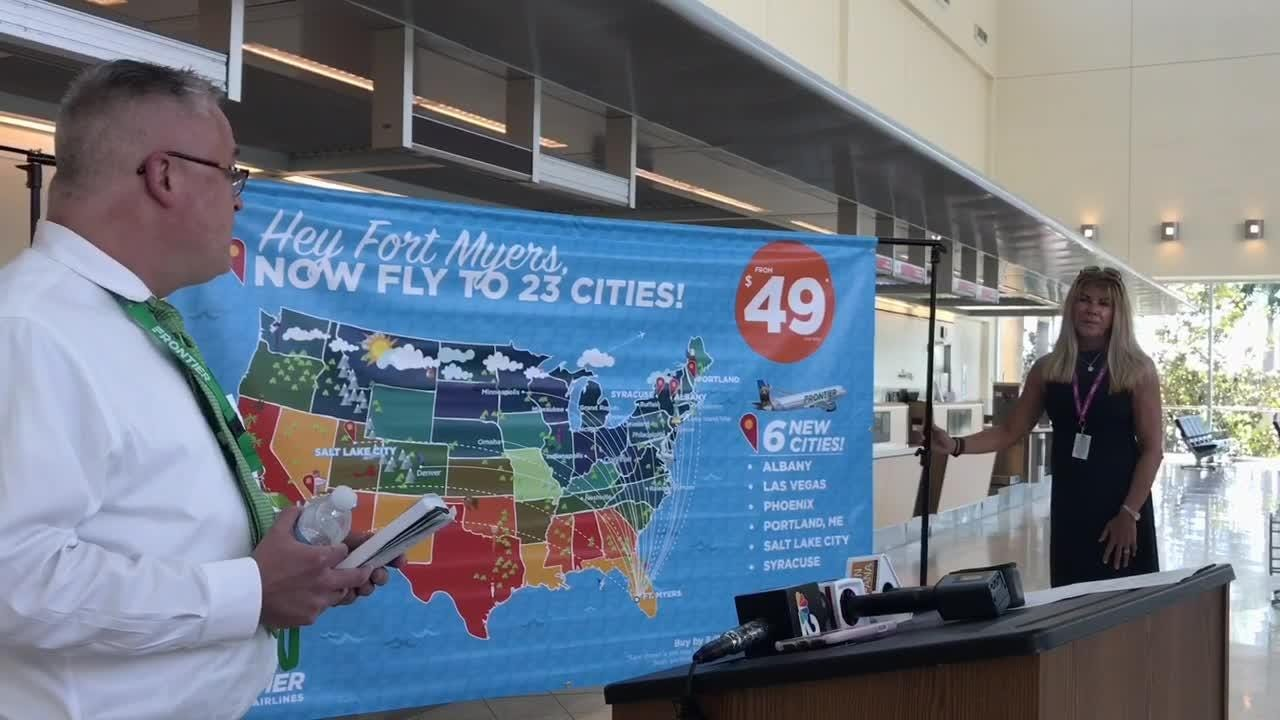 Map Destinations Florida.Frontier Airlines In Fort Myers Nonstop Flights To Begin To 6 New