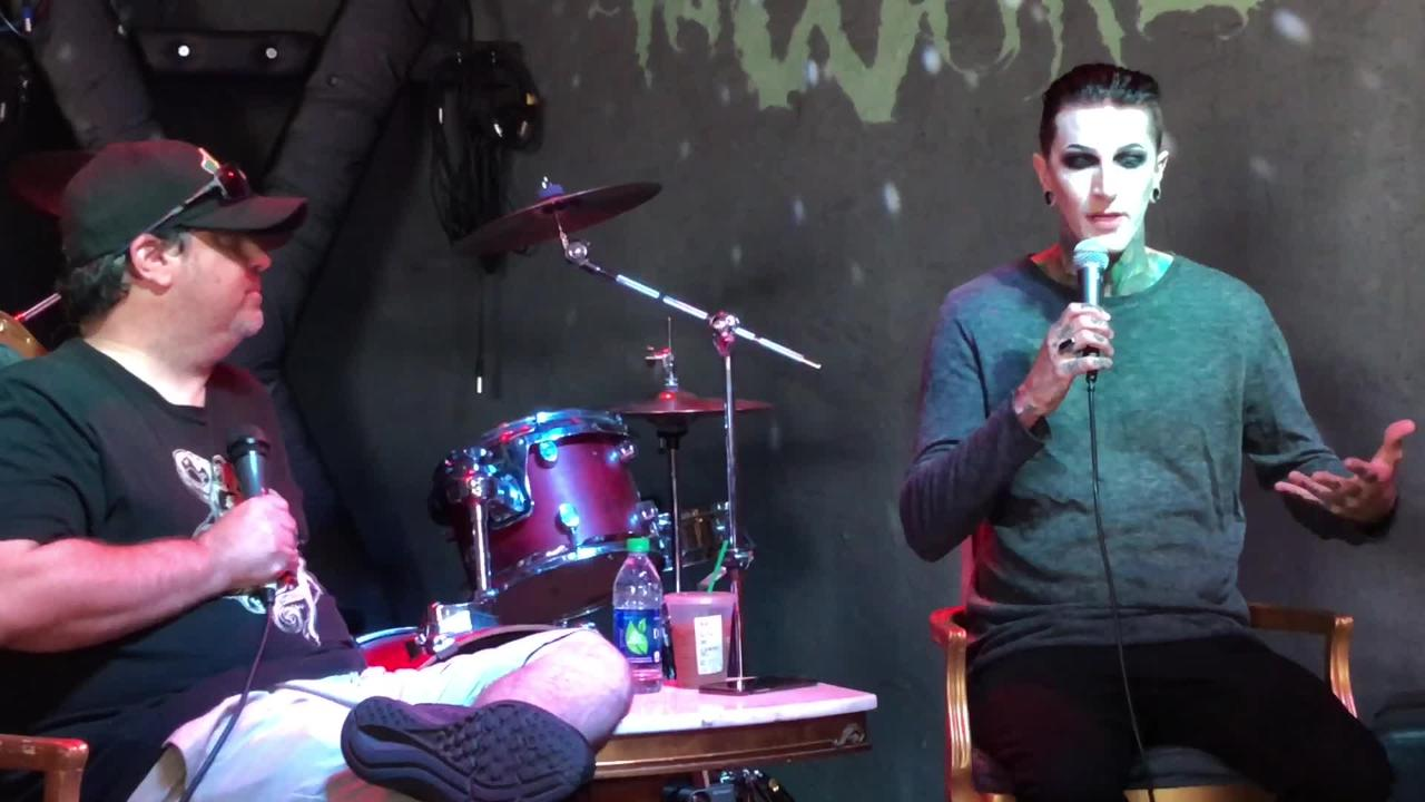 Motionless in White singer Chris Motionless talks about what got him into music: His uncle and Metallica. He appeared Monday at HOWL in Fort Myers.
