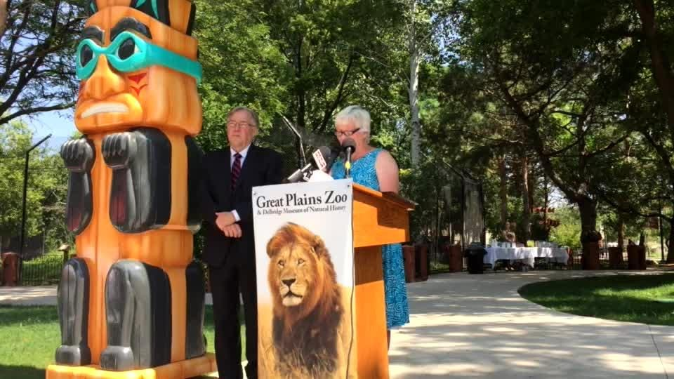 Zoo officials announced that T. Denny Sanford donated $1 million to the lion exhibit.
