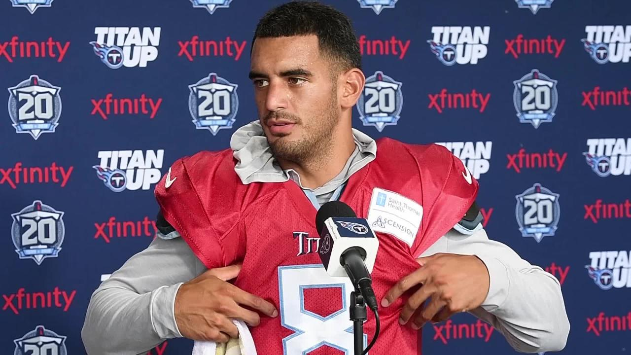 Titans quarterback Marcus Mariota and head coach talk sunscreen and excited to play in first preseason game against the Packer