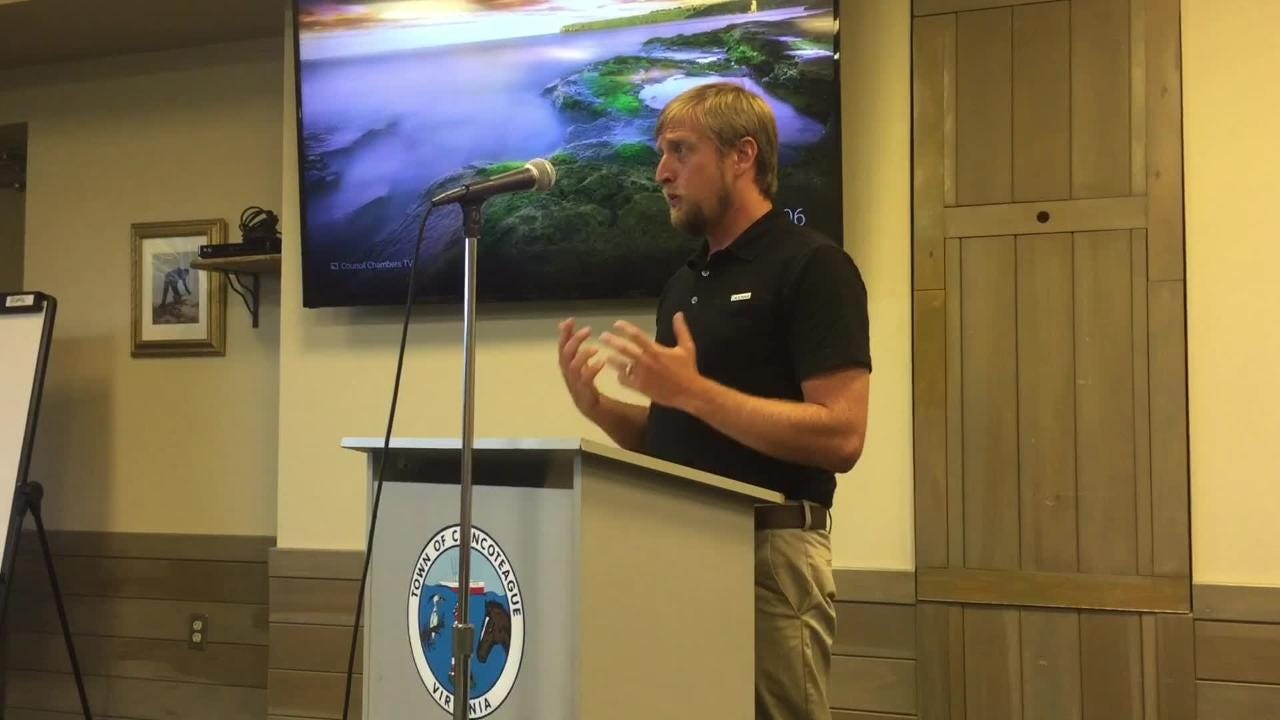 Oceana organizer Matt Heim urged Chincoteague's council to oppose offshore oil and gas drilling.