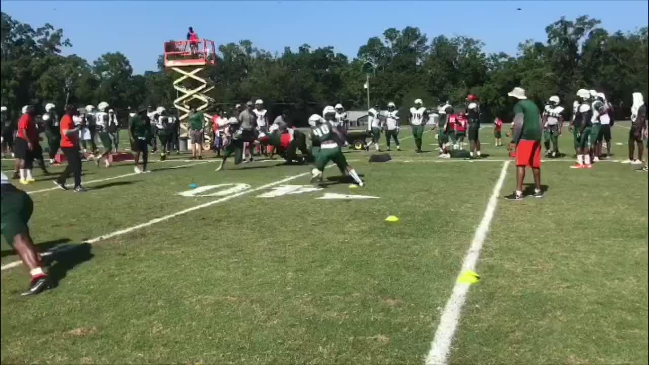 WATCH: FAMU running back Eddie Tillman shows off his elusive moves as he goes untouched in a tackling drill.