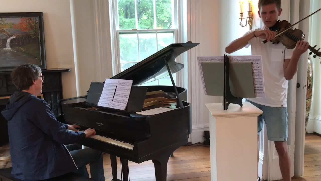 Pianist Fritz Schwighammer and his son, Leopold, of Germany rehearse for a concert Saturday at the Pomerene Center for the Arts, part of the Coshocton Arts Homecoming.