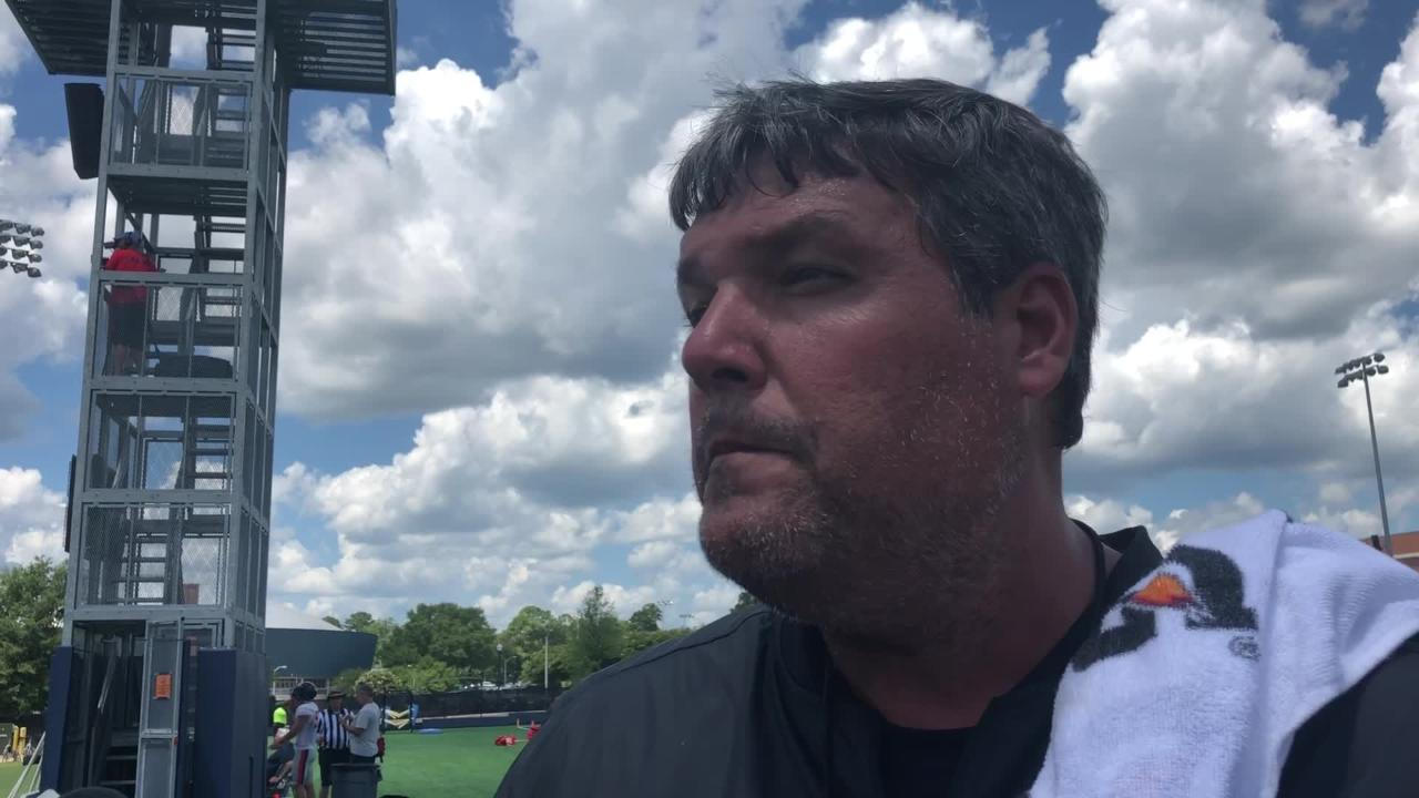 Ole Miss coach Matt Luke discusses practice format, freshman standouts, position battles and injuries after Day 5 of fall camp, on Aug. 7, 2018.
