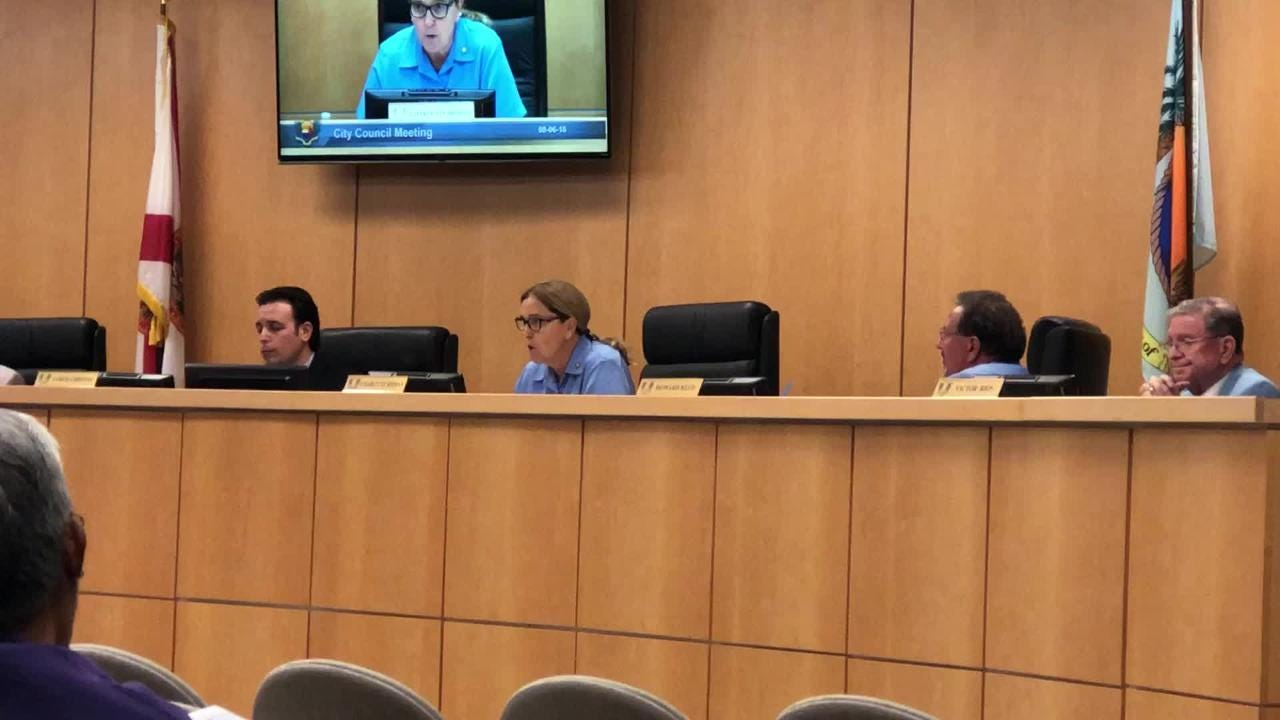 Marco Island City Council Vice-Chair Charlette Roman speaks to citizens about why the city needs to move forward with it city manager search.