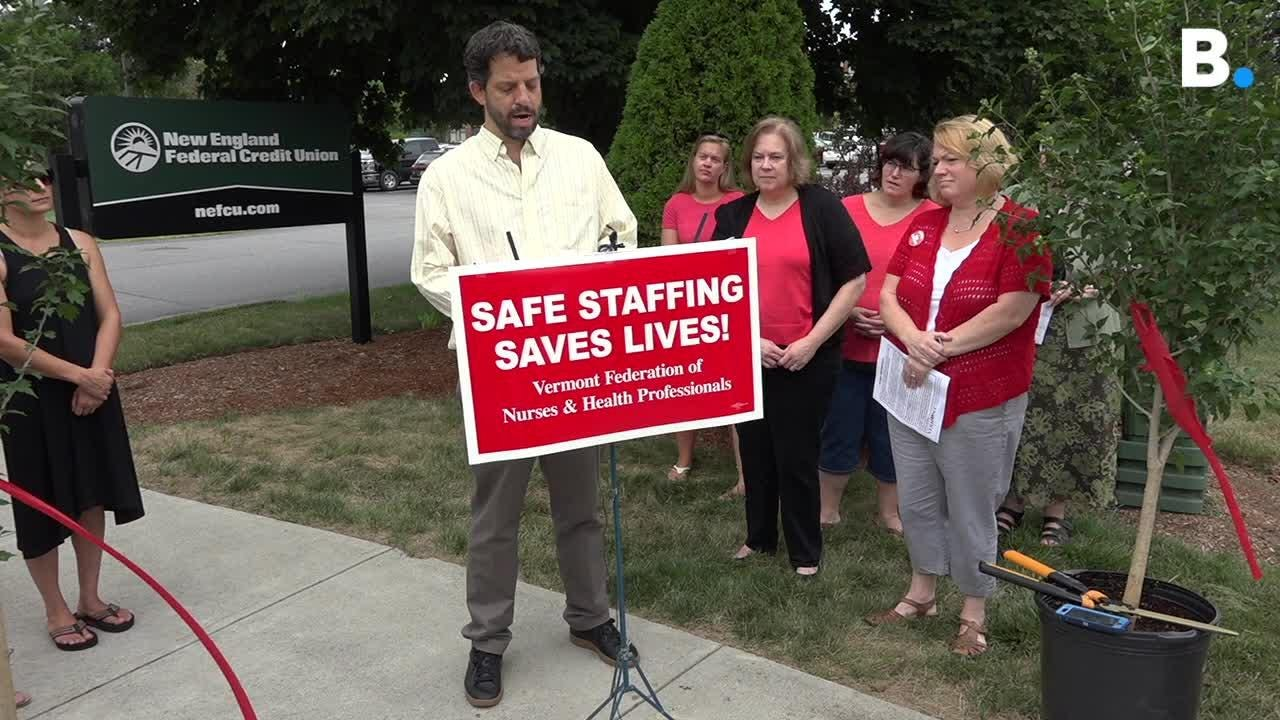 UVM Medical Center nurses union says  members will pull out of New England Federal Credit Union because of inaction by CEO, a hospital board member.