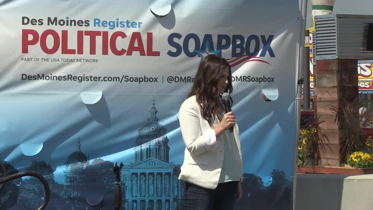 Abby Finkenauer, Democratic candidate for Iowa's 1st Congressional District, spoke Aug. 9 during the Des Moines Register's Political Soapbox.