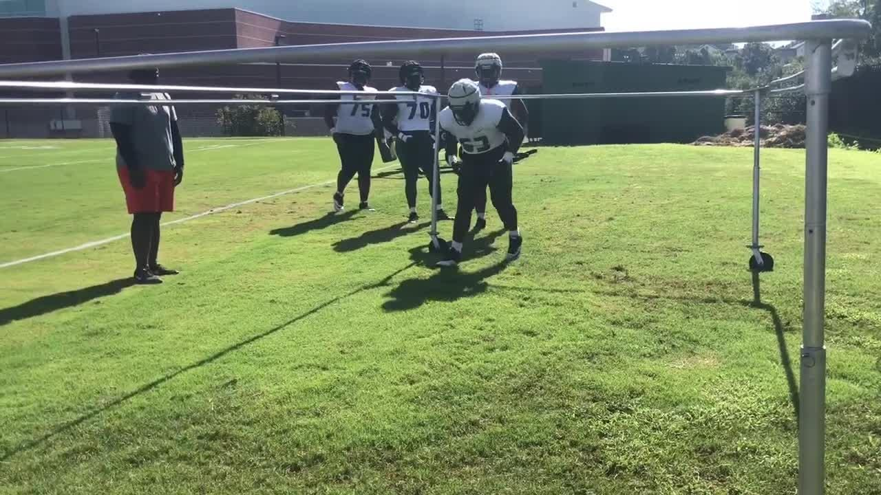 WATCH: Offensive linemen work on shuffling while maintaining a low center of gravity.