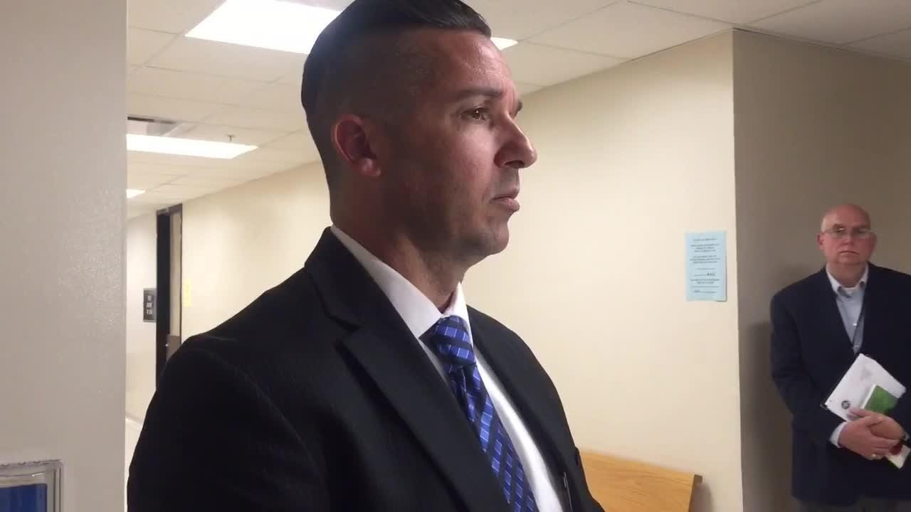 Clark County Prosecuting Attorney Jeremy Mull speaks about the Joseph Oberhansley case after an Aug. 9 hearing.