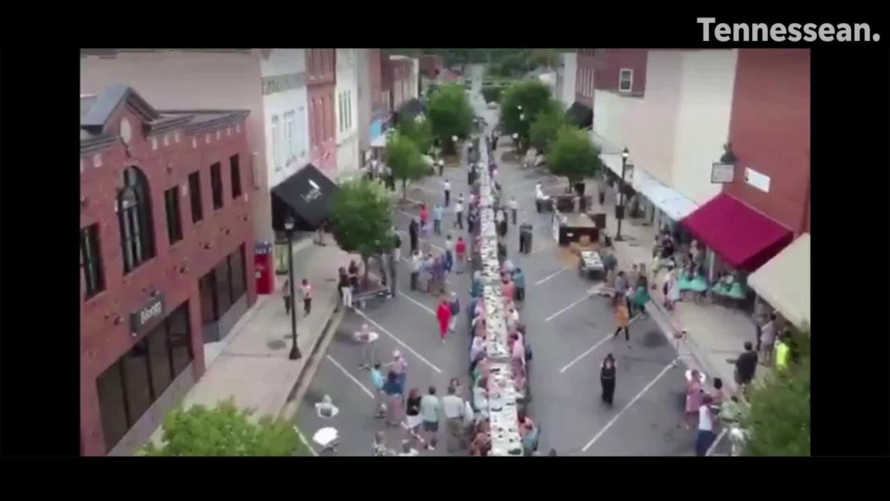 2018 aerial Downtown Dickson Farm to Table