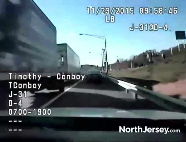Dascham footage shows a Nov. 23, 2015 police chase of a homicide suspect through Bergen County.