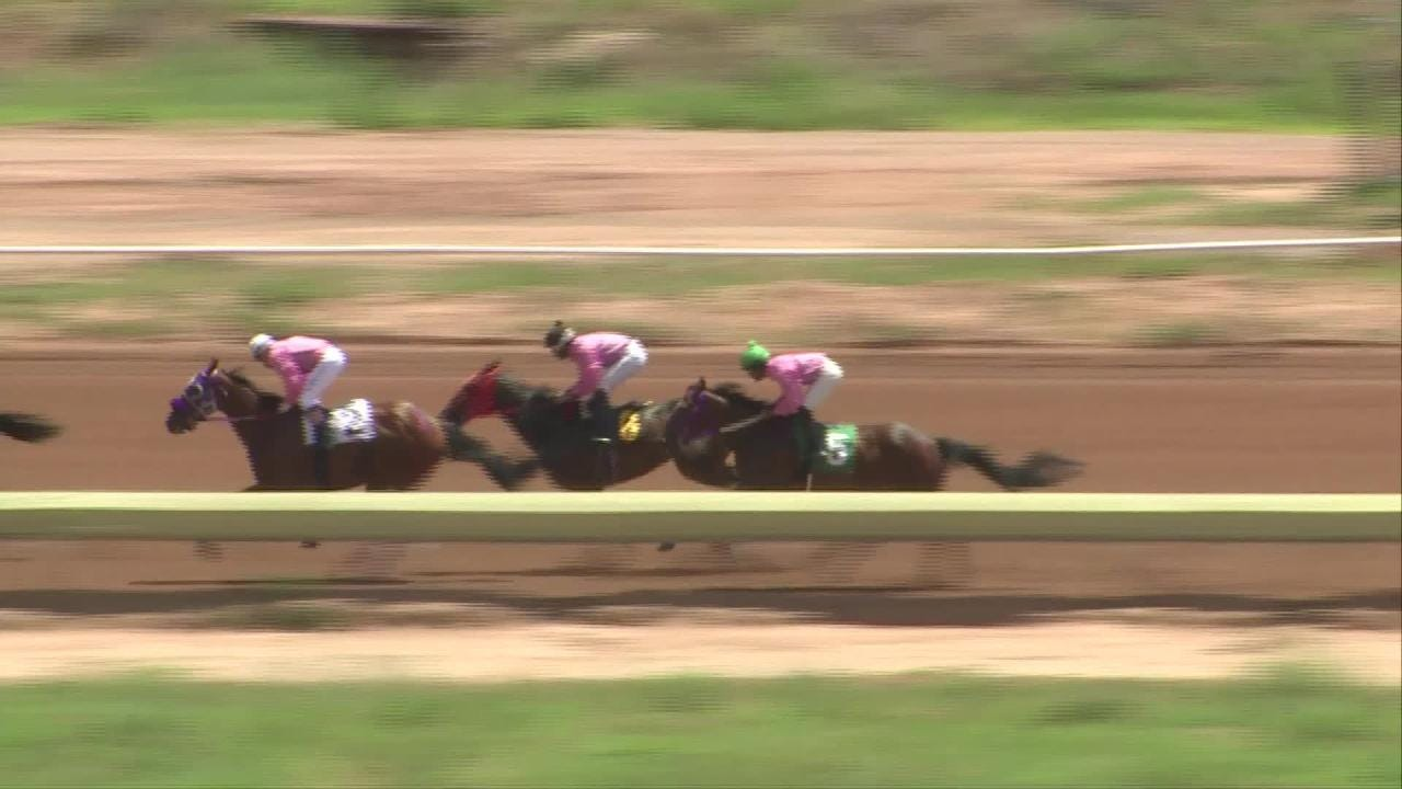 The 3-year-old Fancy Stripe loses its jockey at the start of the Aug. 4 race in Ruidoso Downs. But the horse goes on to cross the finish line first.