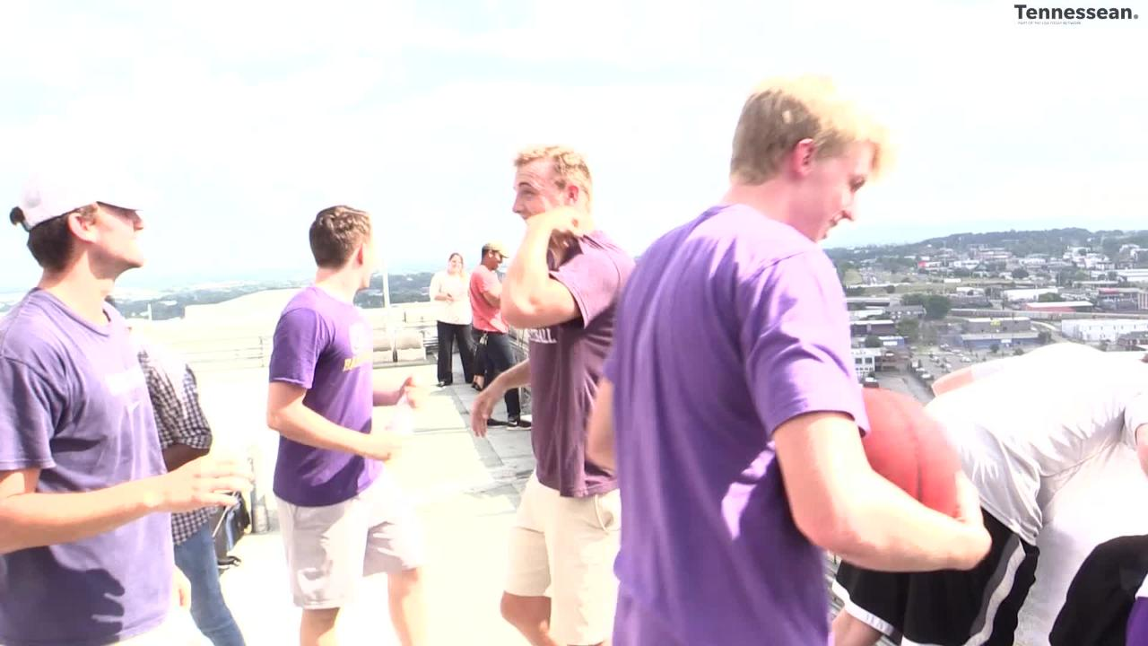 CPA coach Drew Maddux hit a shot while blindfolded from 362 feet off the top of the Omni Hotel.