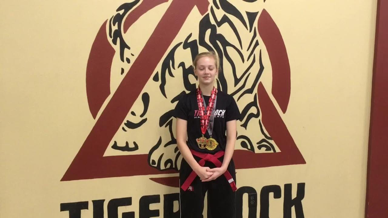 Lauren Lewis, 16, won two gold medals at a national taekwondo tournament in Birmingham in July. Many of her opponents were much older than her.
