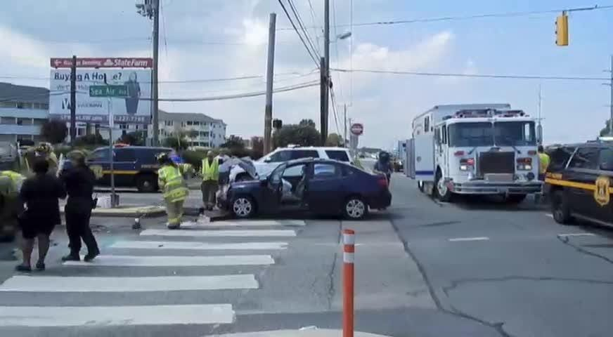 A two-vehicle crash at Coastal Highway and Sea Air Avenue, north of Rehoboth Beach, injured one person, who was transported to Beebe Medical Center in Lewes on Friday, Aug. 10, 2018.
