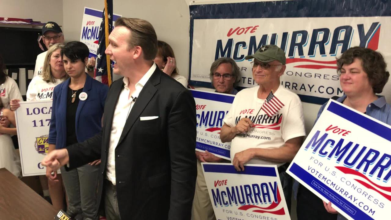 Nate McMurray, the Democrat who is running in the 27th Congressional District, held a press conference at the CWA Local 1170 headquarters in Rochester