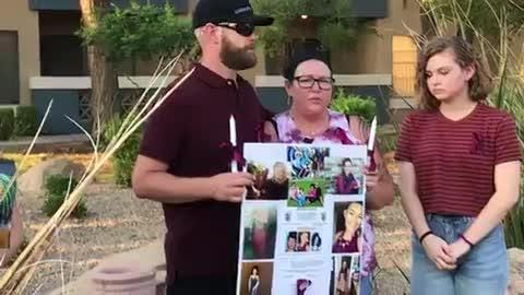 The family and friends of missing 19-year-old Kiera Bergman held a vigil on Aug. 11, 2018 in Phoenix.