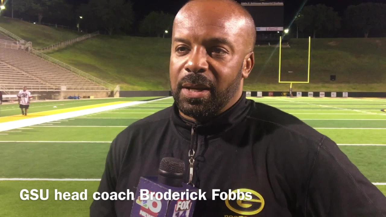 Grambling State head football coach Broderick Fobbs details the defensive performance during the team's scrimmage.