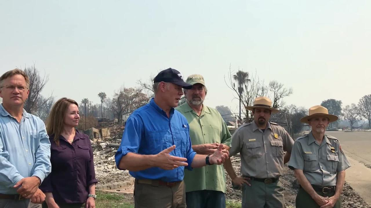 Interior Secretary Ryan Zinke visited Redding on Sunday to tour damage from the Carr Fire.