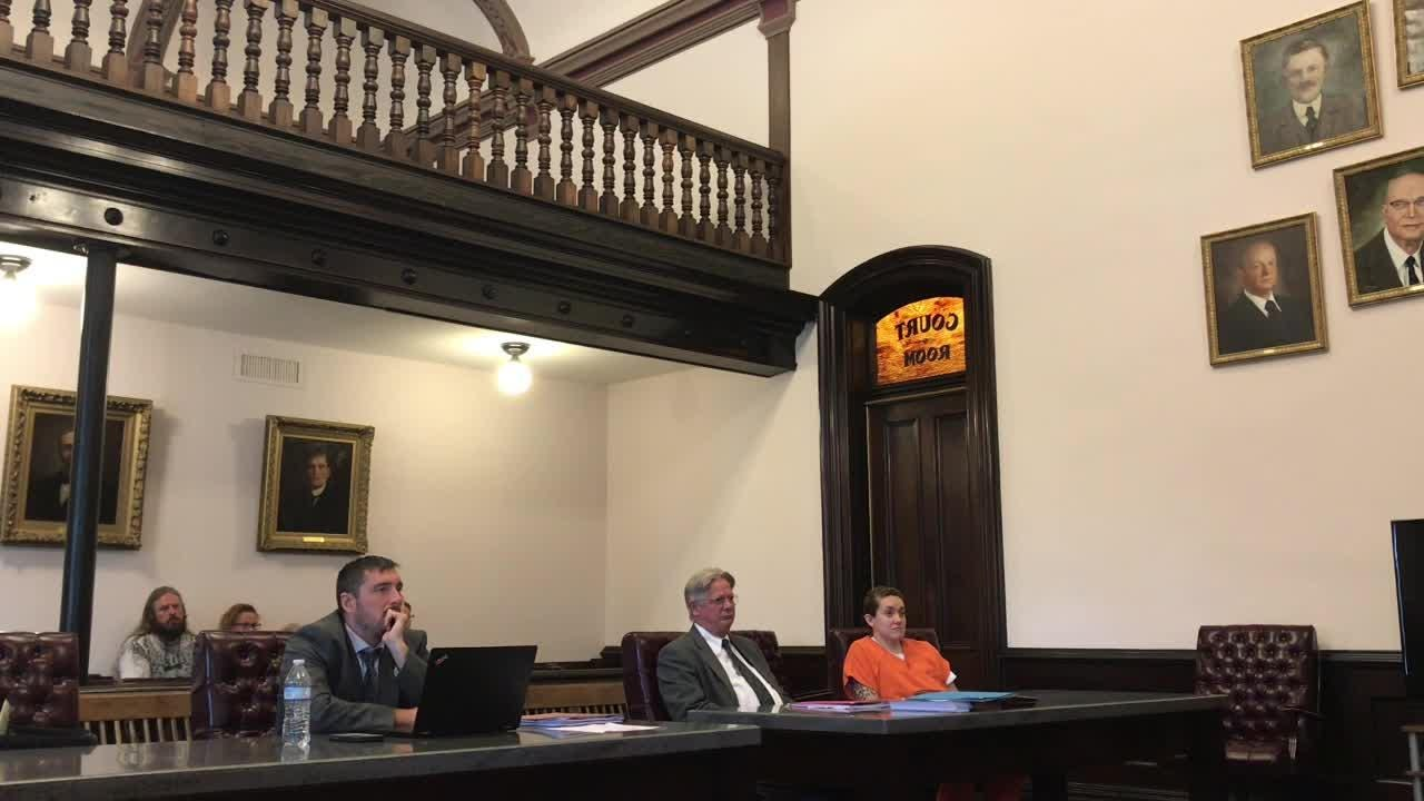 Judge Robert Batchelor addresses Cherokee Williamson Monday in Coshocton County Common Pleas Court.