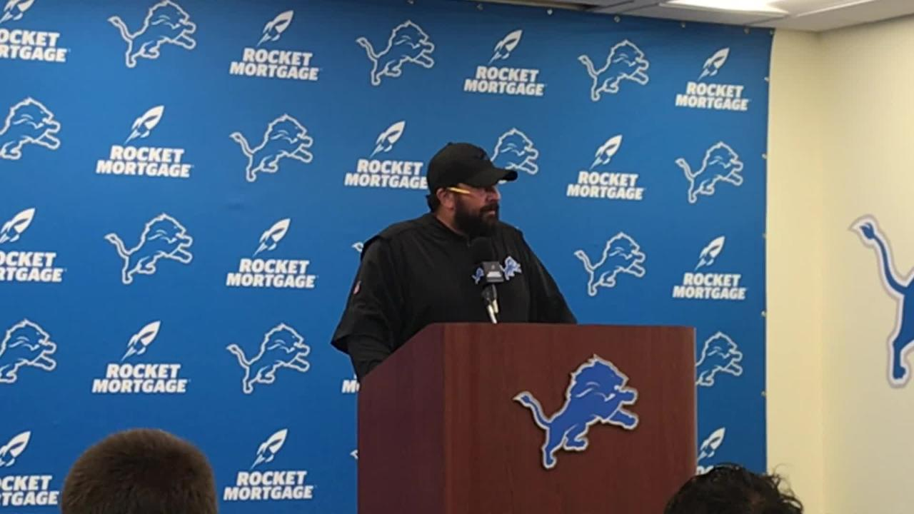 Lions coach Matt Patricia says he is focused on today's practice and not his interview with the NY Giants this offseason