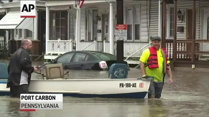 Roadways were closed and homes were flooded on Monday after heavy rains hit parts of eastern Pennsylvania. Some residents in the town of Port Carbon had to be evacuated.