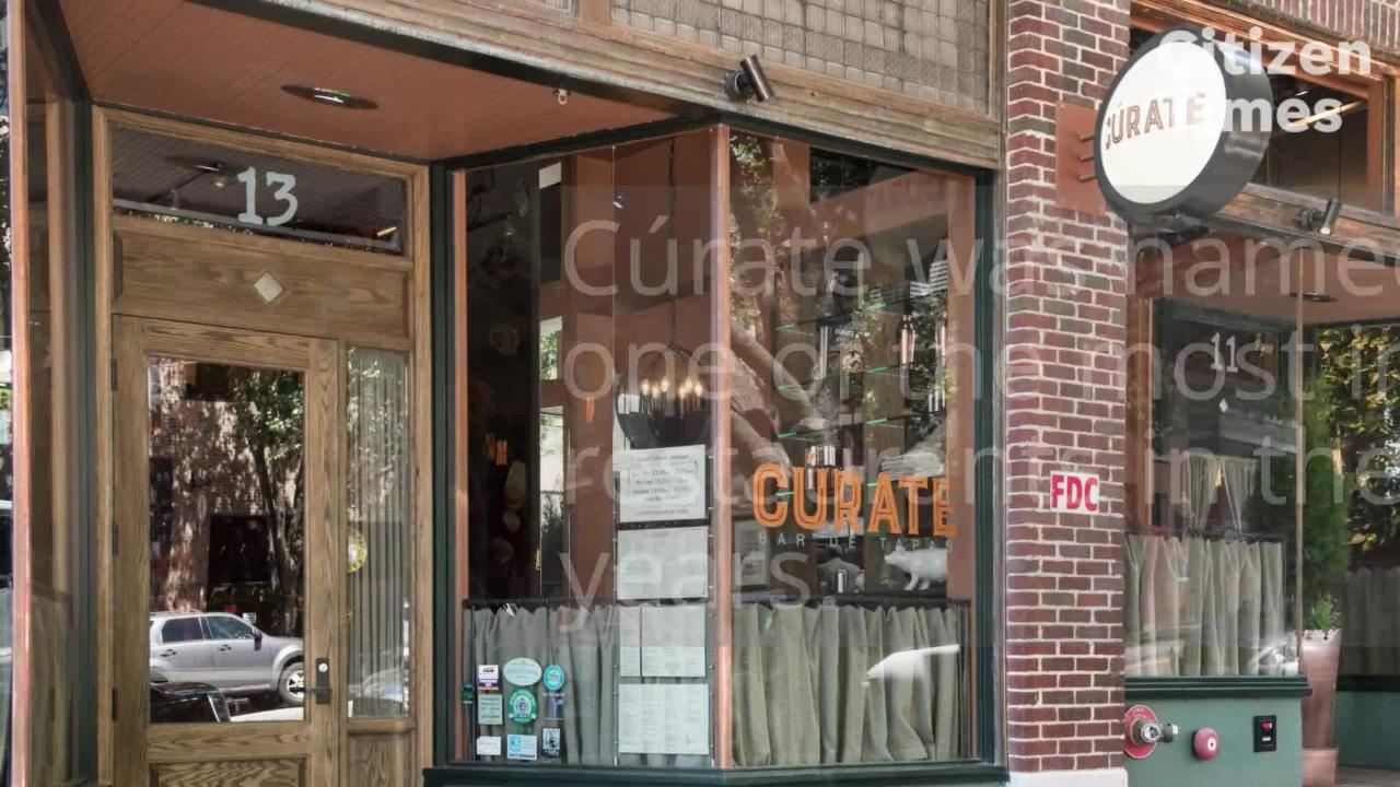 Asheville's Curate was named by Food & Wine as one of the most important restaurants in the past 40 years.