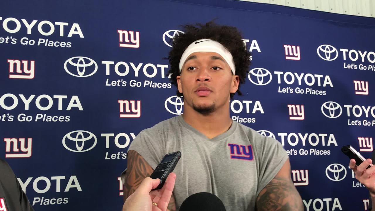 Giants TE Evan Engram talks to reporters after the team's joint practice with the Lions in Allen Park, Michigan, on Tuesday
