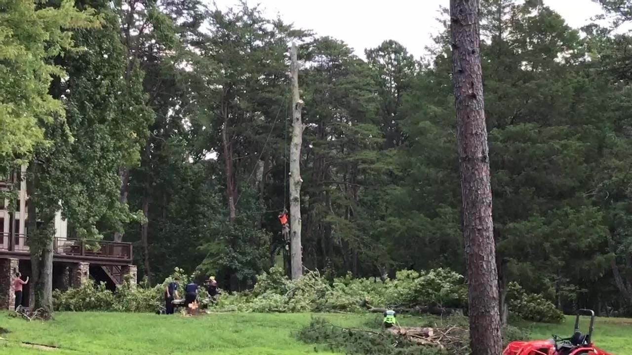 Watch as a tree service worker is rescued after being pinned 50 feet above the ground on a property in South Knoxville.  Rural Metro Fire spokesman Jeff Bagwell explains the situation.