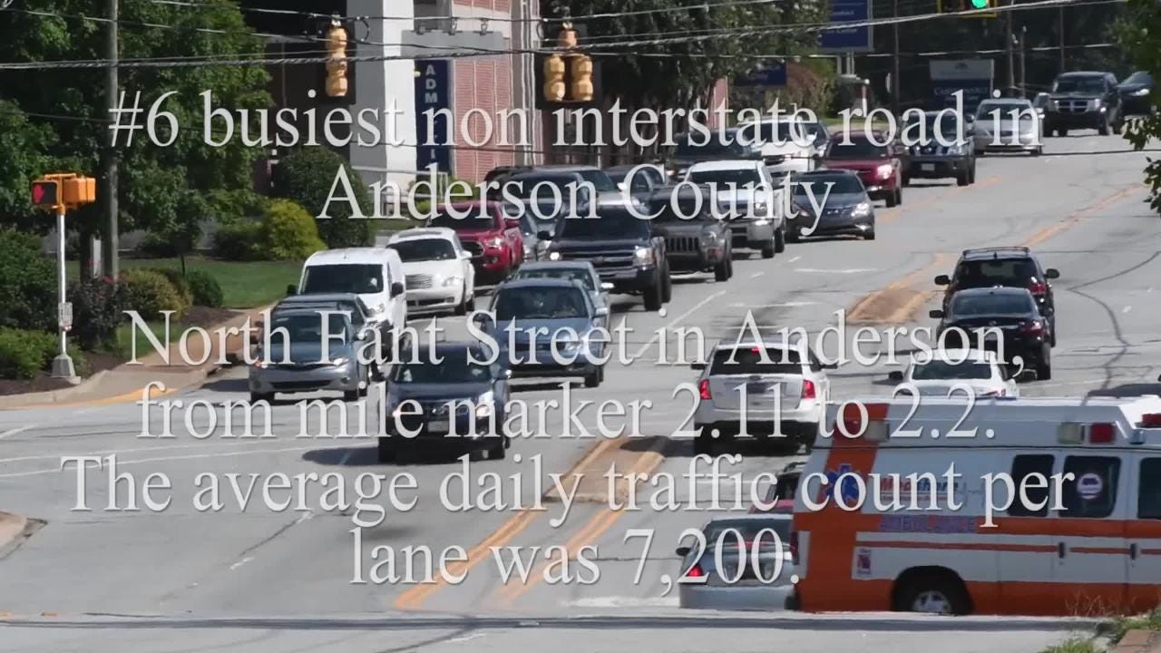 Where are the busiest non interstate roads in Anderson County? Anderson Independent Mail and SCDOT compiled top 10