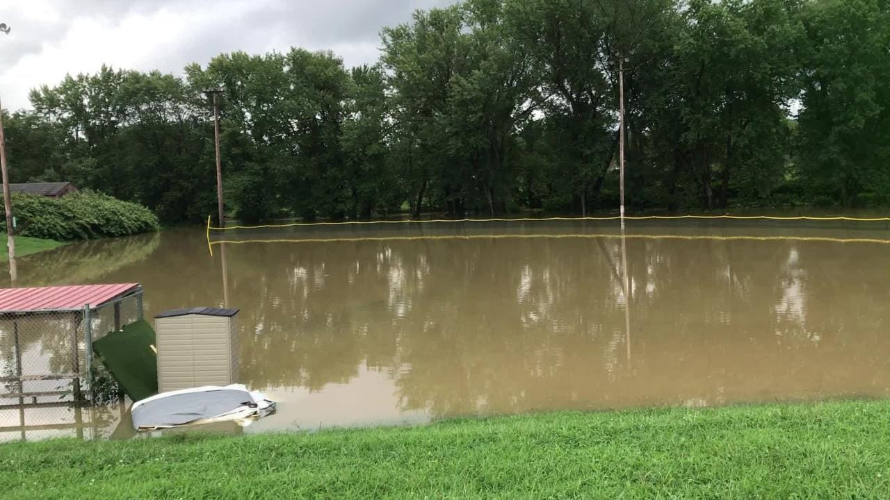 A baseball field was under water Tuesday after heavy rains fell on the Southern Tier.
