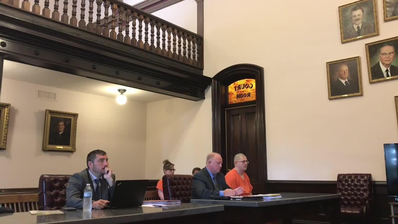 Judge Robert Batchelor addresses Justyn Fornal during his sentencing in Coshocton County Common Pleas Court on charges of tampering with evidence and importuning.