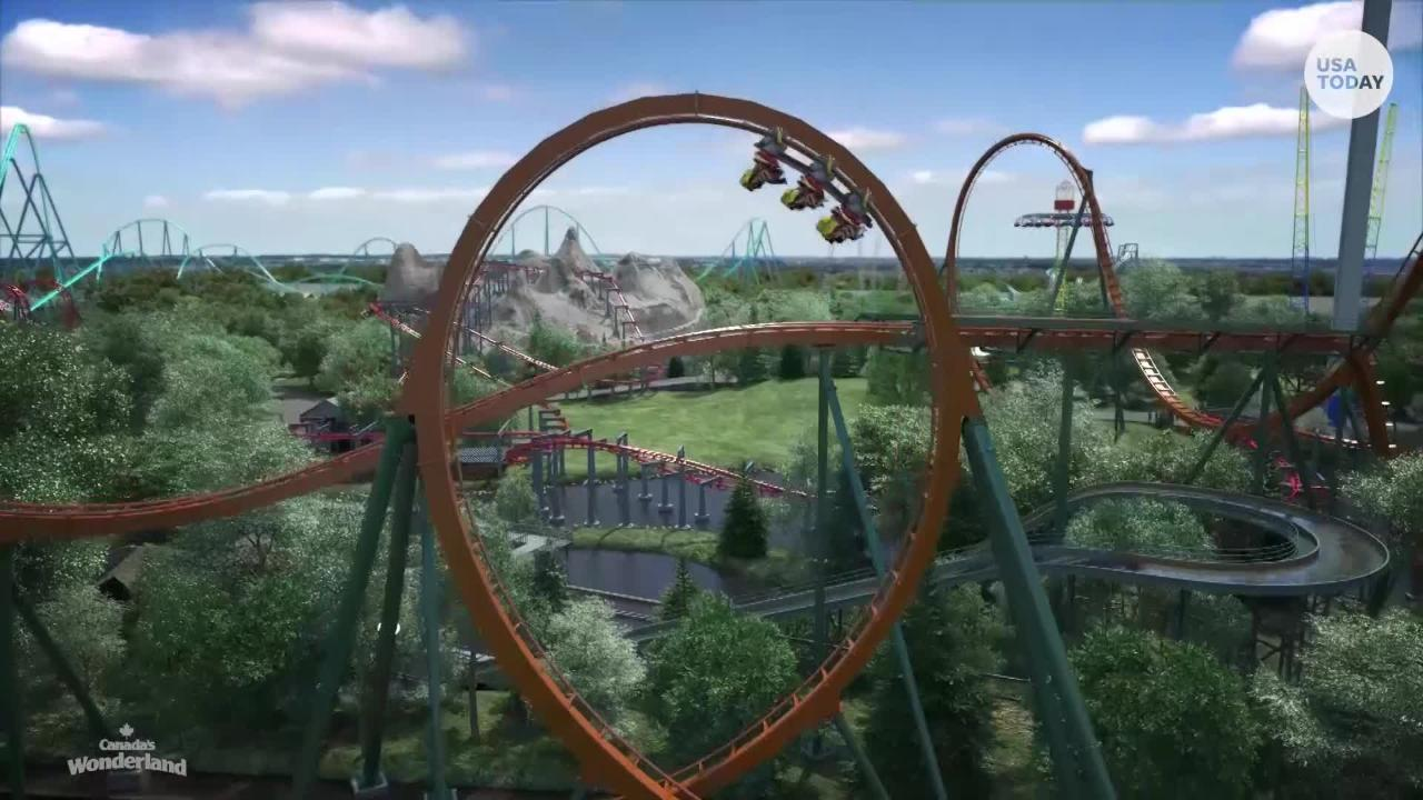 """The world's tallest, fastest, and longest dive coaster is coming to Canada's Wondering in 2019.  The """"Yukon Striker"""" boasts of a 245-foot, 90-degree drop that will accelerate to 80 mph."""