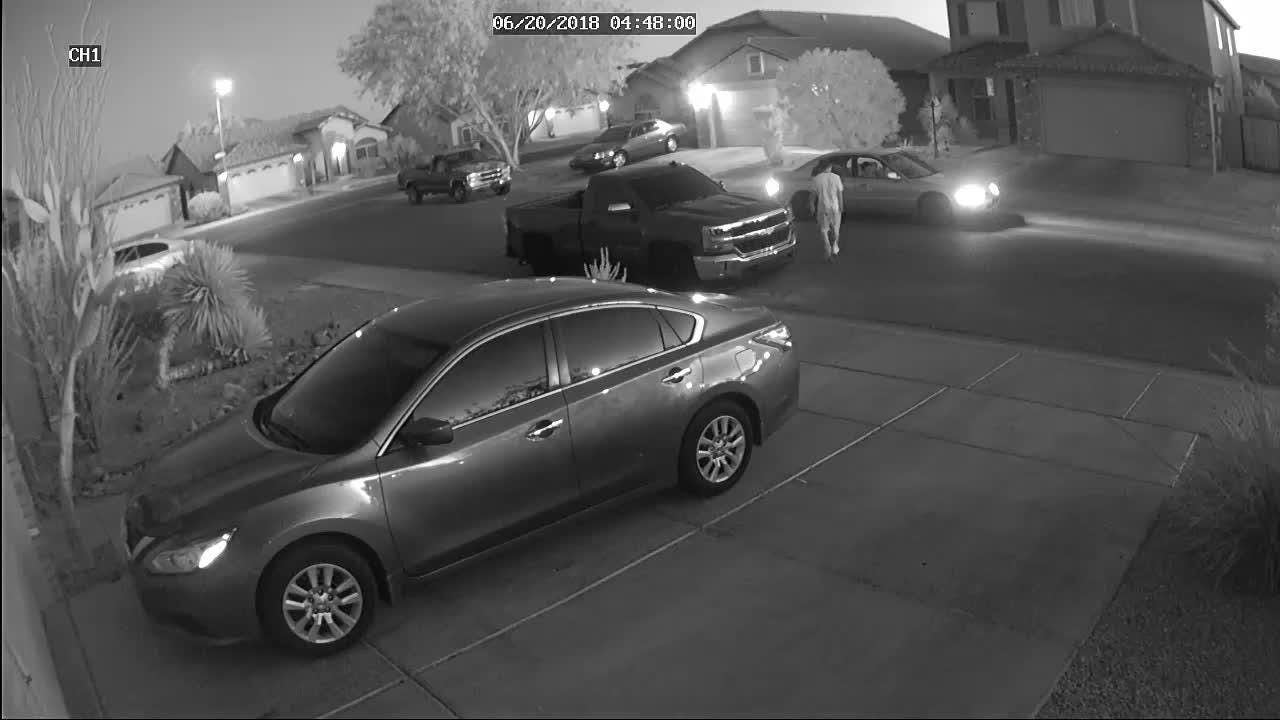 A man was caught on home surveillance video shooting at a home and vehicle in Phoenix on June 20, police said.