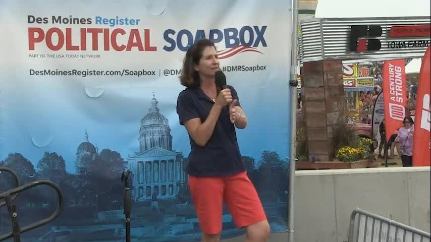 Republican Mary Mosiman speaks at the Political Soapbox