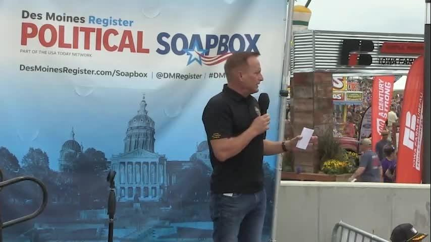 Republican Paul Pate speaks at the Political Soapbox