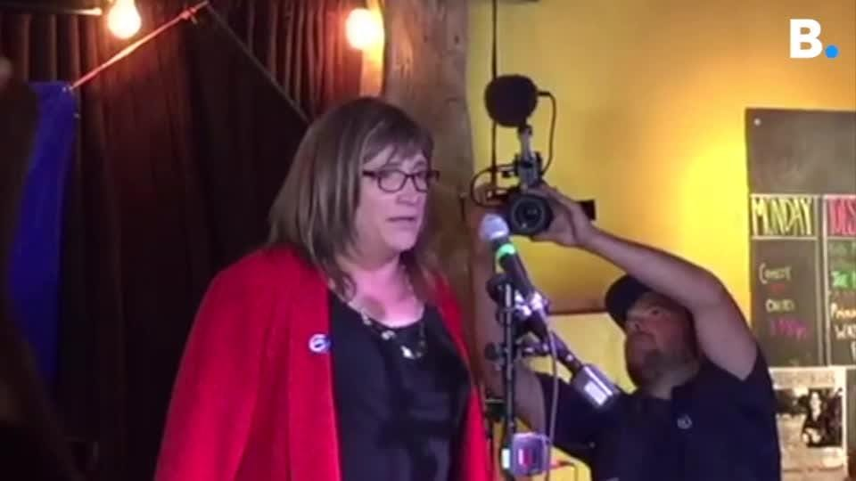 Christine Hallquist addressed her supporters at a Democratic primary victory party Aug. 14, 2018 at the Skinny Pancake restaurant in Burlington.