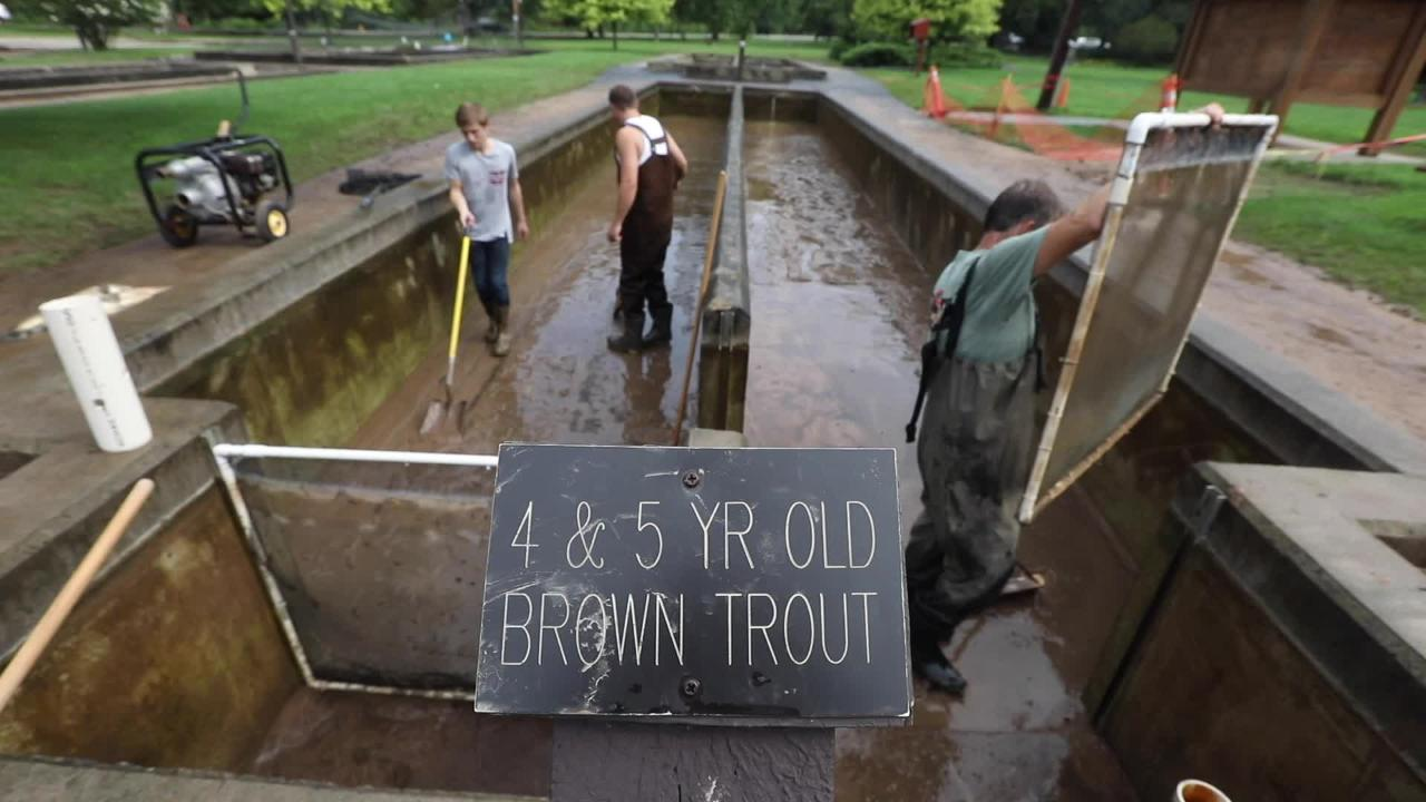 Crews at Powder Mills Fish Hatchery begin the dirty job of cleaning up after flooding