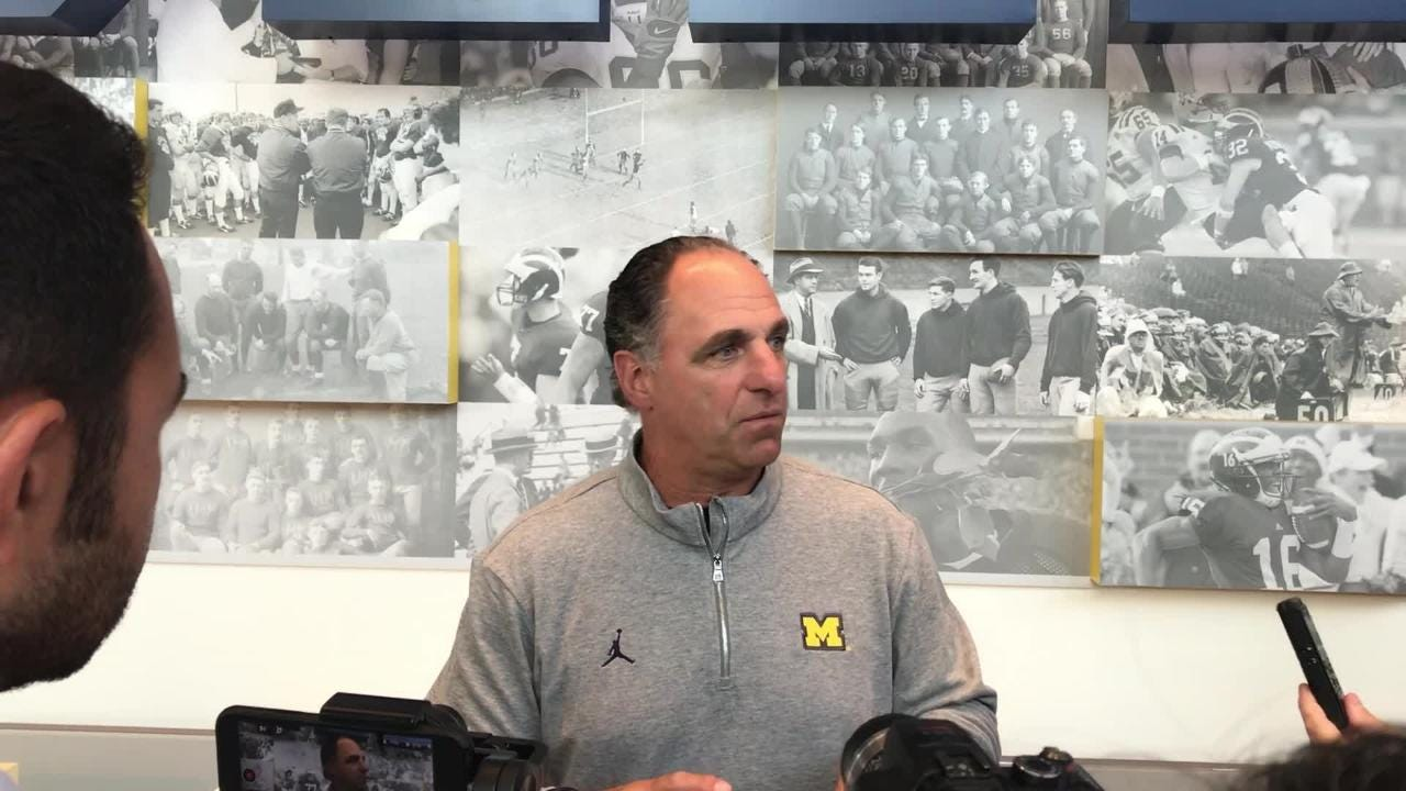 Michigan defensive backs coach Mike Zordich spoke to the media on Wednesday, Aug. 15, 2018, in Ann Arbor.