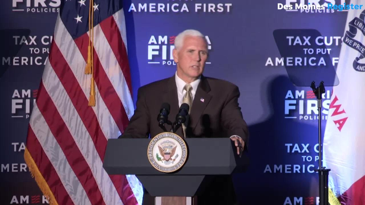 Vice President Mike Pence delivers a message to the family of Mollie Tibbetts during a visit to Des Moines.