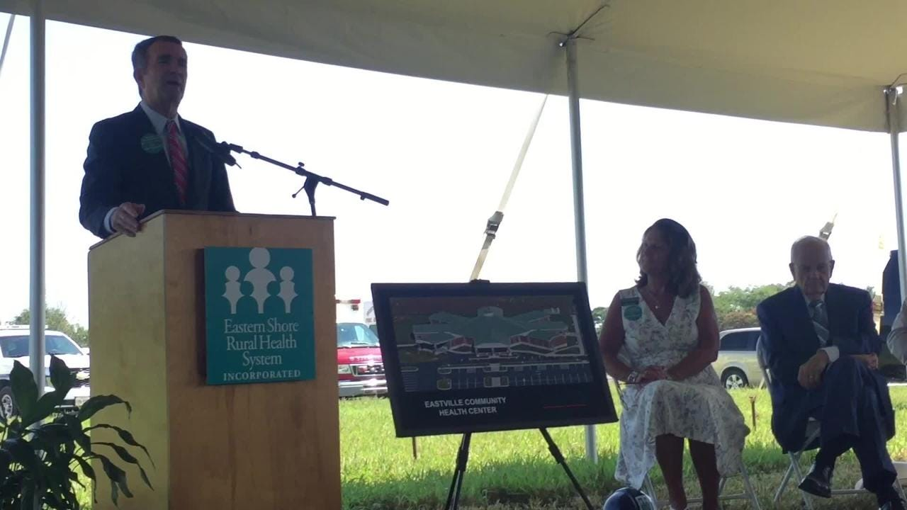 Gov Ralph Northam spoke at a groundbreaking ceremony for Eastville Community Health Center in Northampton County, Virginia on Wednesday, Aug. 15, 2018.