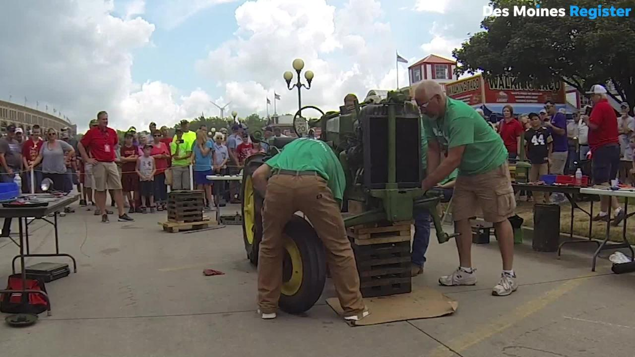 Time-lapse: Watch a 1947 John Deere M Tractor assembled in under 30 minutes at the Iowa State Fair.