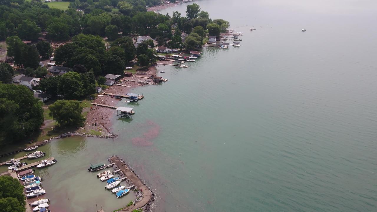 Drone footage shows the destruction on Seneca Lake