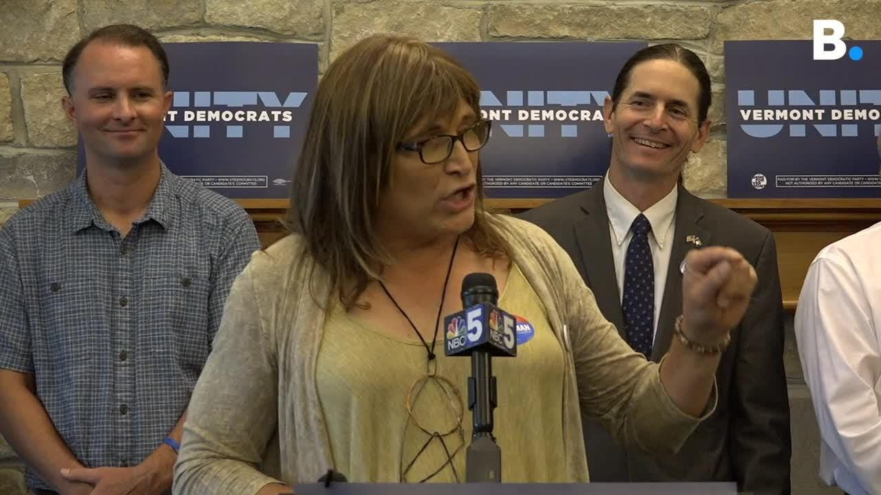 Christine Hallquist, transgender Vermont Democratic candidate for governor, speaks in Burlington on Wednesday, Aug. 15, 2018, after winning primary.